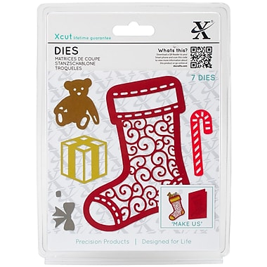 Xcut Decorative Dies 7/Pkg-Filigree Christmas Stocking