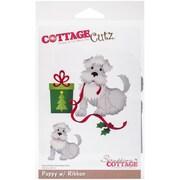 """CottageCutz Die-Puppy W/Ribbon, 3.8""""X3.9"""""""