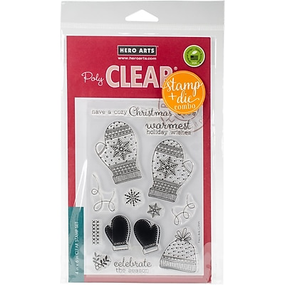 Hero Arts Clear Stamp & Die Combo-Holiday Mittens