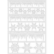 Idea-Ology Adhesive Alpha Parts 19/Pkg-Frozen Clear Icicle Borders & Snowflakes