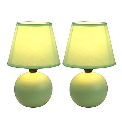 Simple Designs Incandescent Mini Table Lamp Set, Green (LT2008-GRN-2PK)