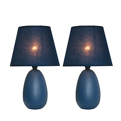 Simple Designs Incandescent Mini Table Lamp Set, Blue (LT2009-BLU-2PK)