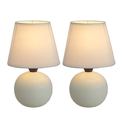 Simple Designs Incandescent Mini Table Lamp Set, Off-White (LT2008-OFF-2PK)