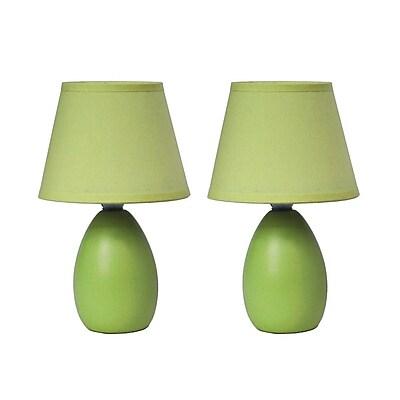 Simple Designs Incandescent Mini Table Lamp Set, Green (LT2009-GRN-2PK)