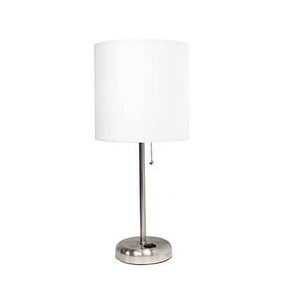 LimeLights Charging Table Lamp, White (LT2024-WHT)