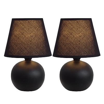 Simple Designs Incandescent Mini Table Lamp Set, Black (LT2008-BLK-2PK)