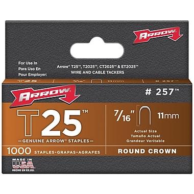 Arrow Fastener 257 T25 Round Crown Staples, 7/16