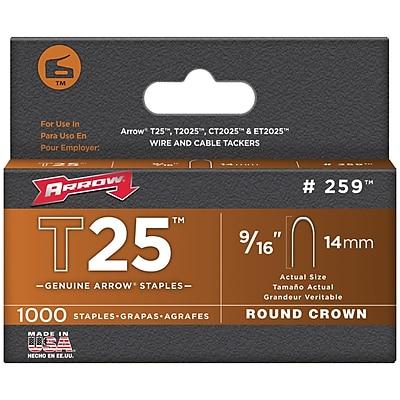 Arrow Fastener 259 T25 Round Crown Staples, 9/16