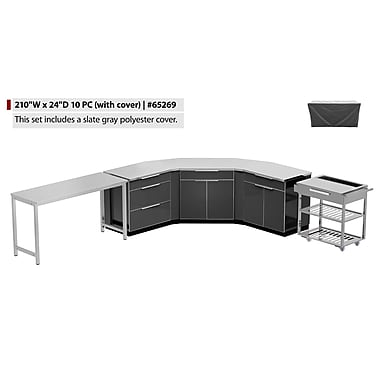 NewAge Products Outdoor Kitchen 10-Piece Set (with cover) Aluminum Slate, 210