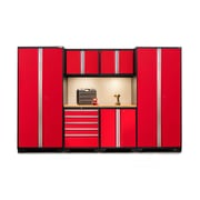 NewAge Products Pro 3.0 Series 7-Piece Garage Cabinet Set, Bamboo Worktop, Red (52252)
