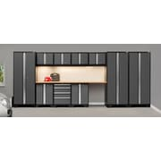 NewAge Products Pro 3.0 Series, 12-Piece Garage Cabinet Corner Set, Bamboo Worktop, Gray (50084)