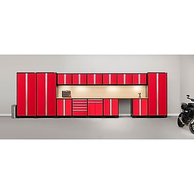 NewAge Products Pro 3.0 Series 16-Piece Garage Cabinet Set, Bamboo Worktop, Red (52356)