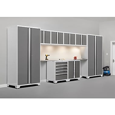 NewAge Products Pro 3.0 Series 10-Piece Garage Cabinet Set, Bamboo Worktop, White (52454)