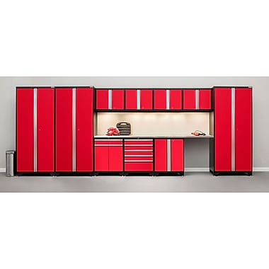 NewAge Products Pro 3.0 Series12-Piece Garage Cabinet Set, Bamboo Worktop, Red (52318)