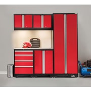 NewAge Products Bold 3.0 Series, 6-Piece Garage Cabinet Set, Stainless Steel Worktop, Red (50299)