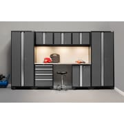 NewAge Products Bold 3.0 Series, 8-Piece Garage Cabinet Set, Stainless Steel Worktop, Gray (50061)