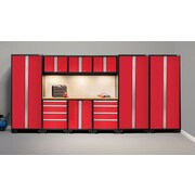 NewAge Products Bold 3.0 Series 10-Piece Garage Cabinet Set, Bamboo Worktop, Red (50302)