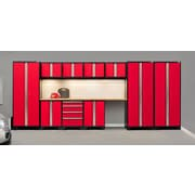 NewAge Products Pro 3.0 Series, 12-Piece Garage Cabinet Corner Set, Bamboo Worktop, Red (50284)