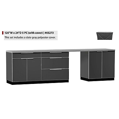 NewAge Products Outdoor Kitchen 5-Piece (with cover) Aluminum Slate, 120