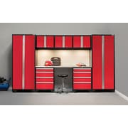 NewAge Products Bold 3.0 Series, 8-Piece Garage Cabinet Set, Stainless Steel Worktop, Red (50277)