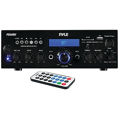 Pyle Home Pda6bu 200-watt Bluetooth Stereo Amp Receiver with USB & SD Card Readers