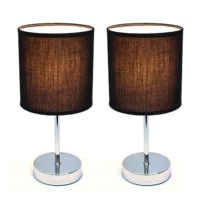 Simple Designs Incandescent Mini Table Lamp Set, Black (LT2007-BLK-2PK)