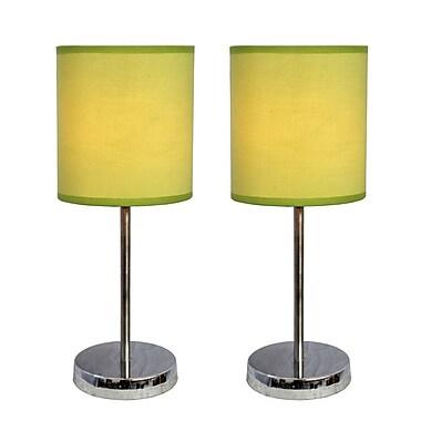 Simple Designs Incandescent Mini Table Lamp Set, Green (LT2007-GRN-2PK)