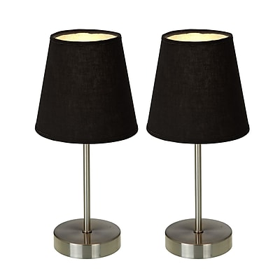 Simple Designs Incandescent Mini Table Lamp Set, Black (LT2013-BLK-2PK)