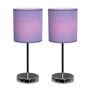 Simple Designs Incandescent Mini Table Lamp Set, Purple (LT2007-PRP-2PK)
