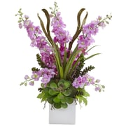 "Nearly Natural Delphinium and Succulent Arrangement 23"" Lavender (1446-LV)"