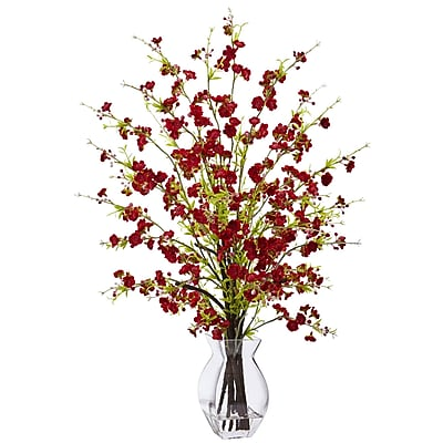 Nearly Natural Cherry Blossom in Glass Vase 26