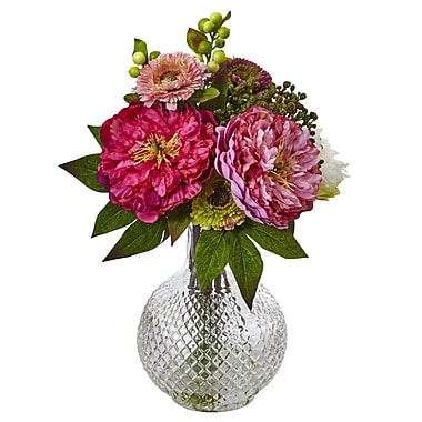 Nearly Natural Peony and Mum in Glass Vase 14