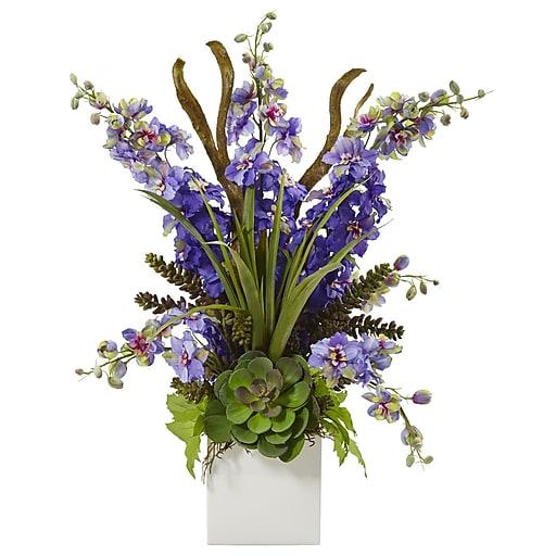 "Nearly Natural Delphinium and Succulent Arrangement 23"" Purple (1446-PP)"