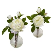 """Nearly Natural Peony with Vase 11"""" White (4576-S2)"""