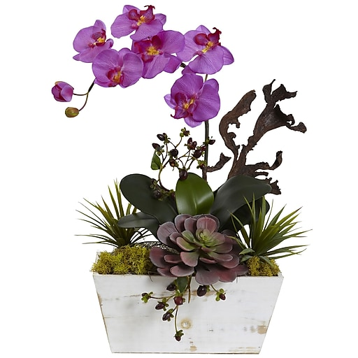 "Nearly Natural Orchid & Succulent Garden with White Wash Planter 21"" Orchid (1458-OR)"