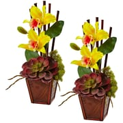 "Nearly Natural Cattleya Orchid and Succulent Arrangement 14.75"" Yellow (1445-YL)"
