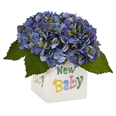 Nearly Natural Hydrangea in New Baby Ceramic 9.5