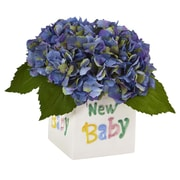 "Nearly Natural Hydrangea in New Baby Ceramic 9.5"" Blue (1448-BL)"