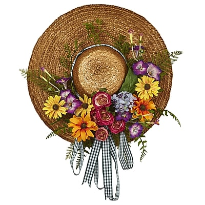 Nearly Natural Mixed Flower Hat Wreath 18