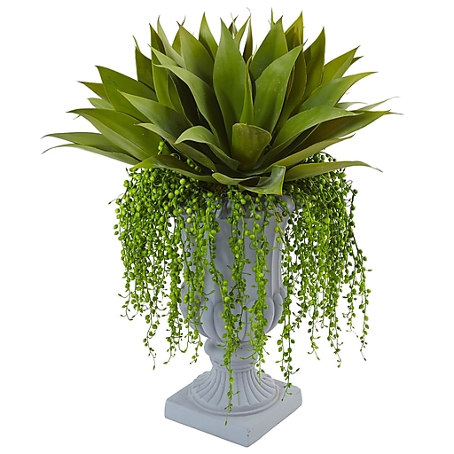 "Nearly Natural Agave and Senecio Succulent Arrangement 27"" Green (6901)"