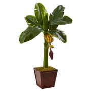 Nearly Natural Banana Tree in Wooden Planter 3 ft. Green (5968)