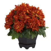 "Nearly Natural Mum with Black Hexagon Planter 12"" Orange (6784)"