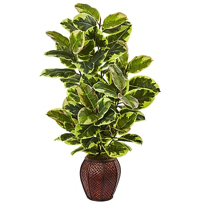 Nearly Natural Rubber Plant with Planter 41