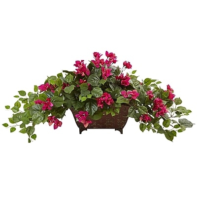 Nearly Natural Bougainvillea in Metal Planter 17