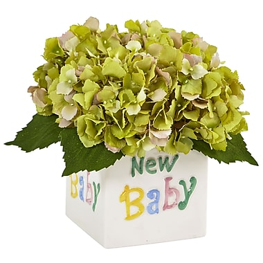 Nearly Natural Hydrangea in New Baby Ceramic 9.5