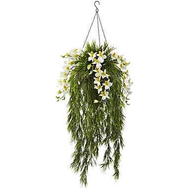 Nearly Natural Bamboo & Dendrobium Hanging Basket 40