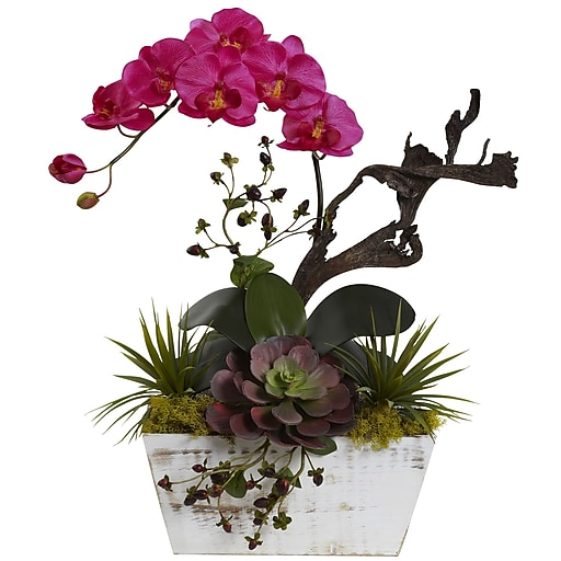 "Nearly Natural Orchid & Succulent Garden with White Wash Planter 21"" Beauty (1458-BU)"