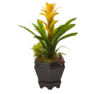 Nearly Natural Bromeliad in Black Hexagon Planter 16.5