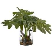 "Nearly Natural Philodendron Arrangement with Vase 14"" Green (6917)"