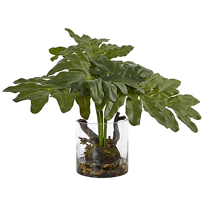 Nearly Natural Philodendron Arrangement with Vase 14